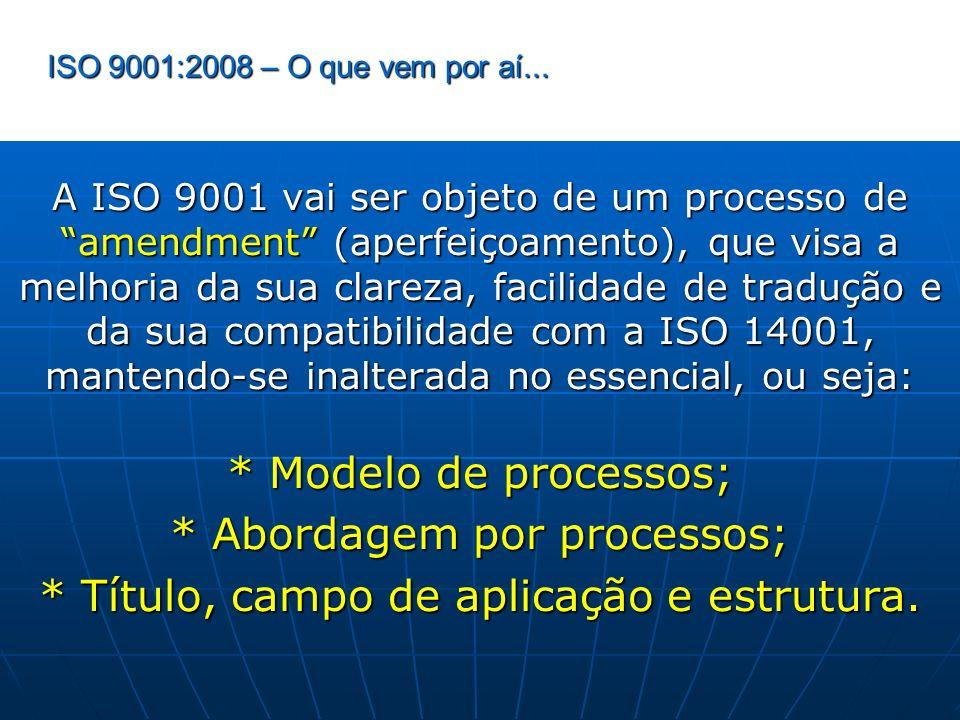 * Abordagem por processos; * Título, campo de aplicação e estrutura.