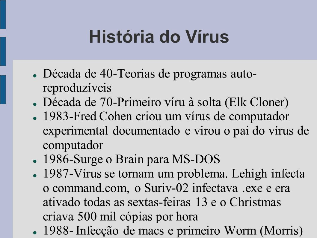 História do Vírus Década de 40-Teorias de programas auto-reproduzíveis