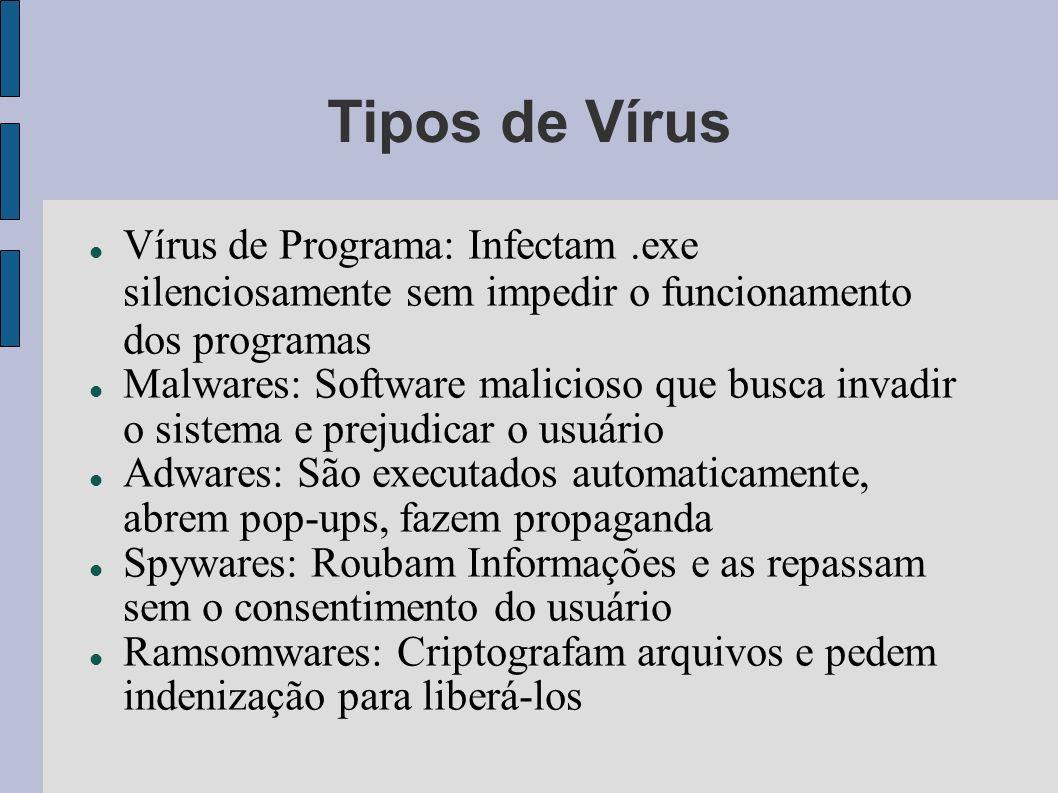 Tipos de Vírus Vírus de Programa: Infectam .exe silenciosamente sem impedir o funcionamento dos programas.