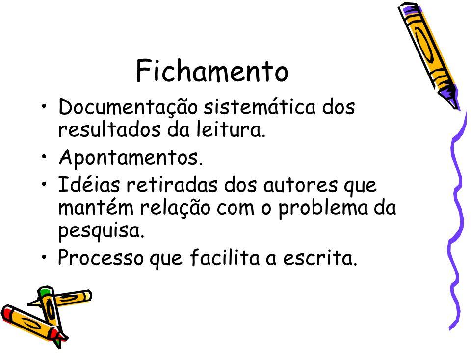 Fichamento Documentação sistemática dos resultados da leitura.