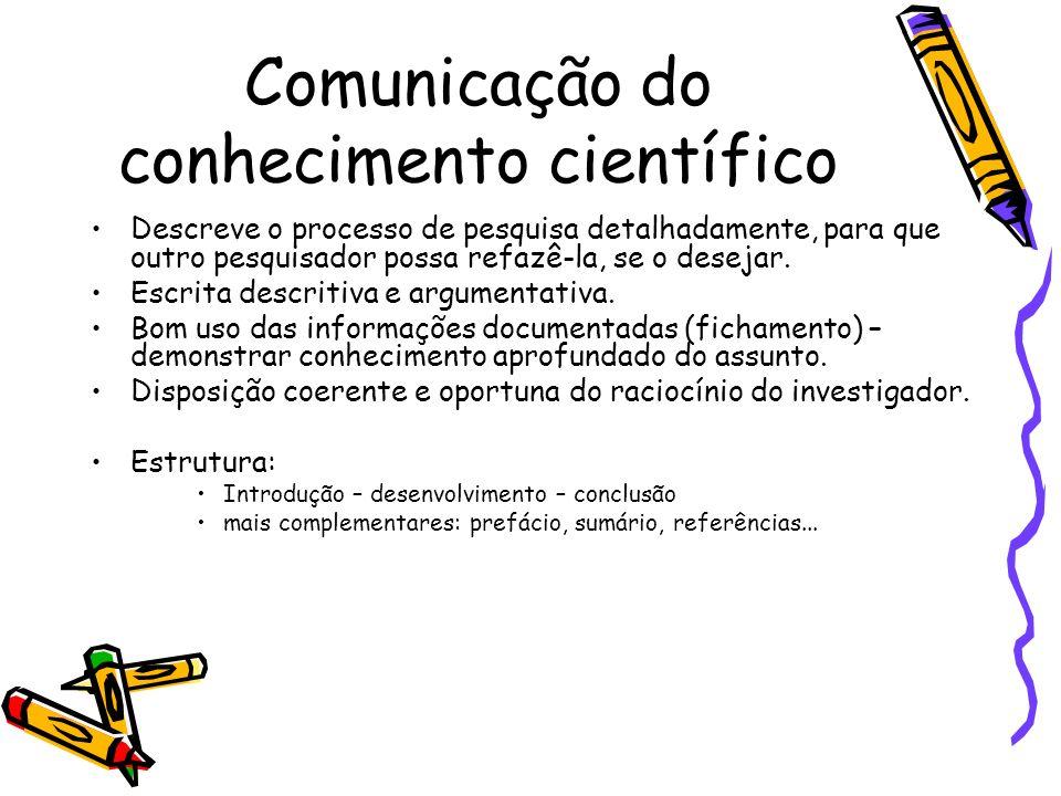 Comunicação do conhecimento científico