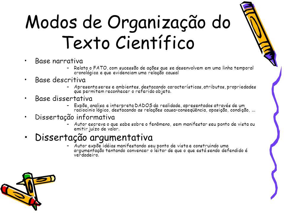 Modos de Organização do Texto Científico