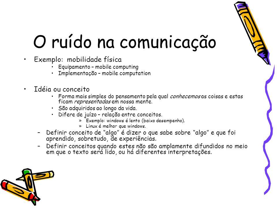 O ruído na comunicação Exemplo: mobilidade física Idéia ou conceito