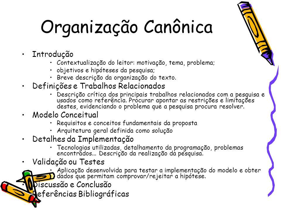 Organização Canônica Introdução Definições e Trabalhos Relacionados