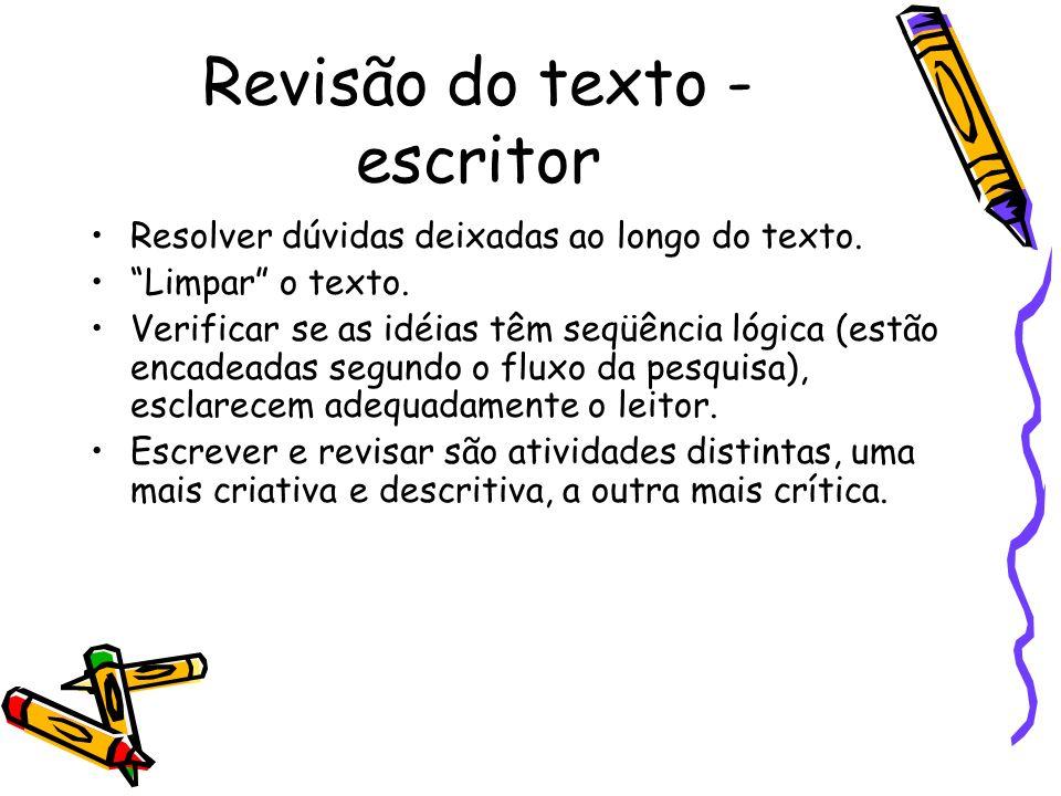 Revisão do texto - escritor