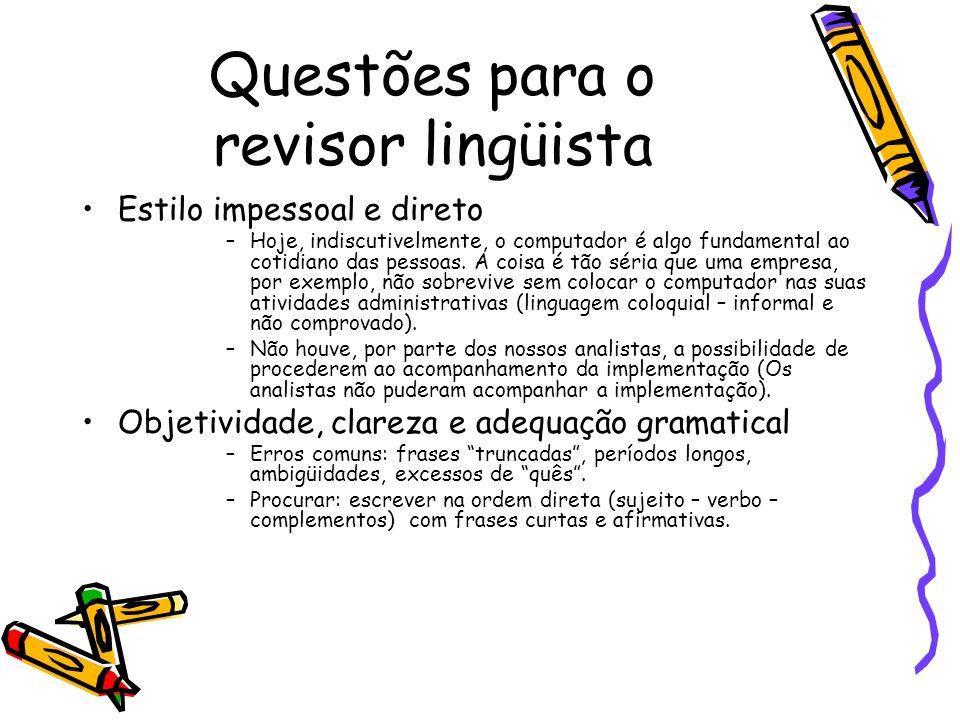 Questões para o revisor lingüista