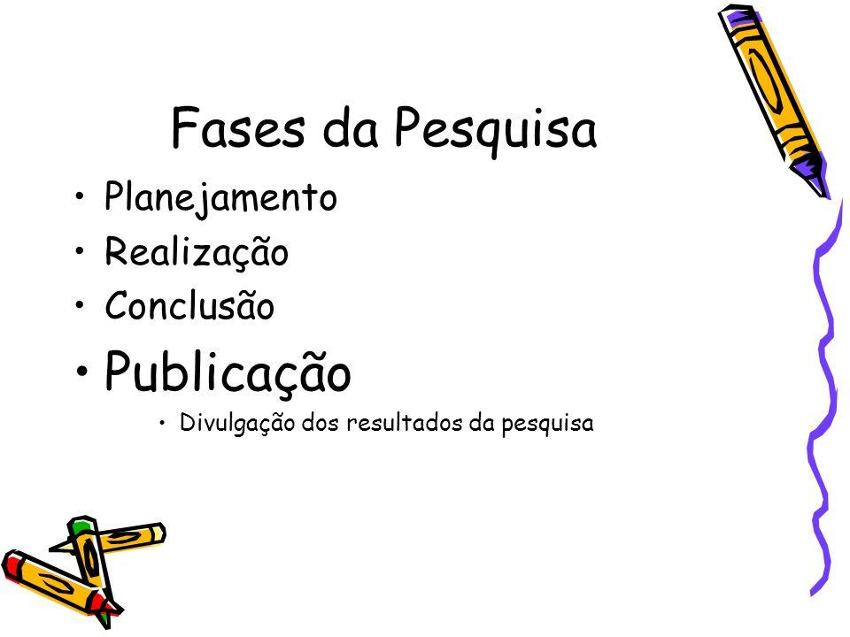 Fases da Pesquisa Publicação Planejamento Realização Conclusão