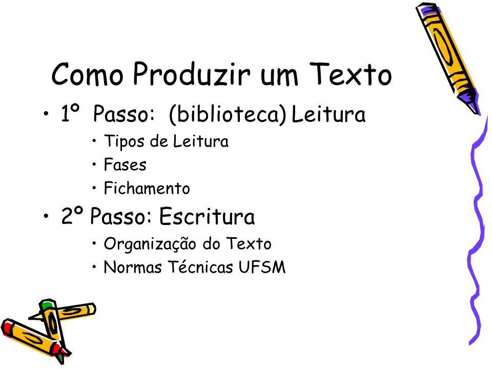 Como Produzir um Texto 1º Passo: (biblioteca) Leitura