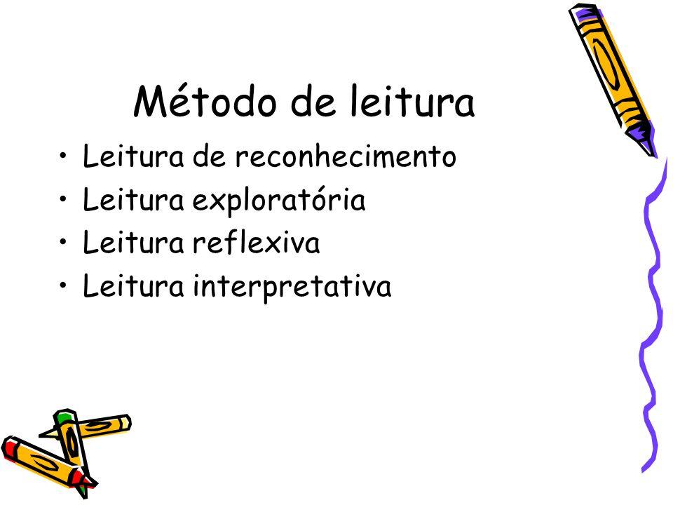 Método de leitura Leitura de reconhecimento Leitura exploratória