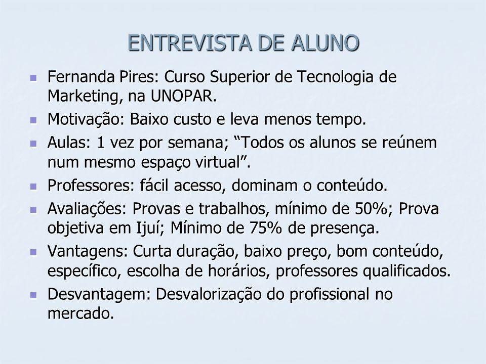 ENTREVISTA DE ALUNO Fernanda Pires: Curso Superior de Tecnologia de Marketing, na UNOPAR. Motivação: Baixo custo e leva menos tempo.