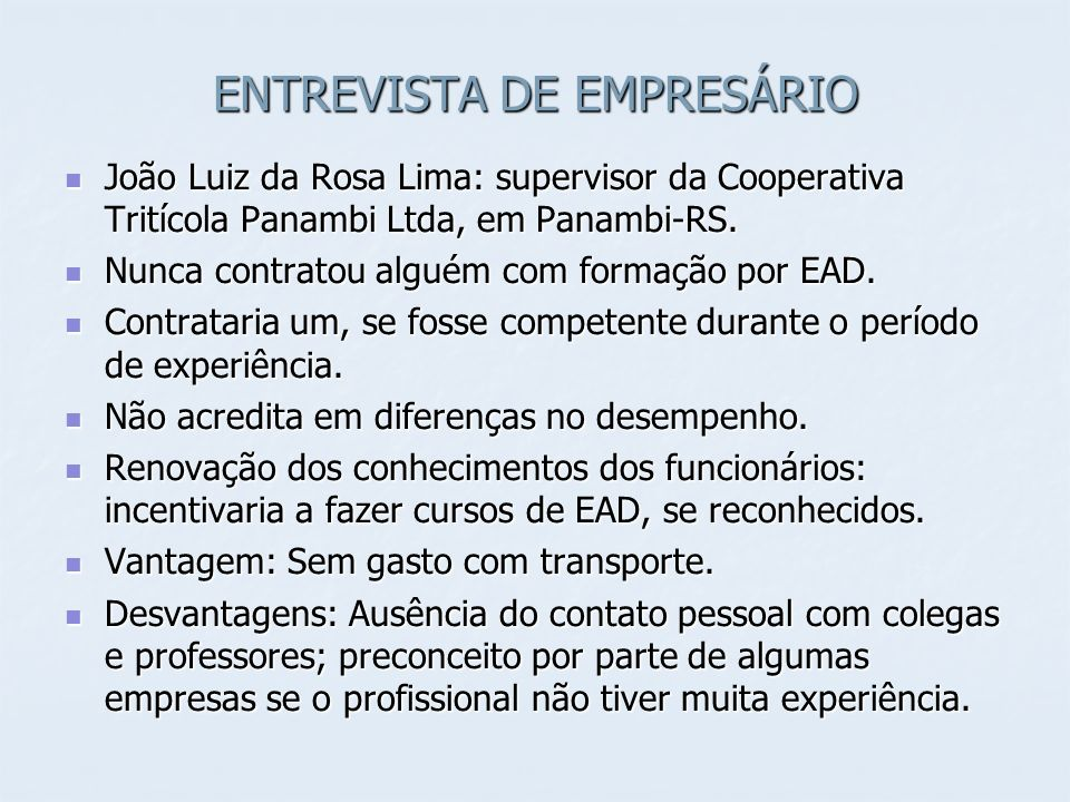 ENTREVISTA DE EMPRESÁRIO