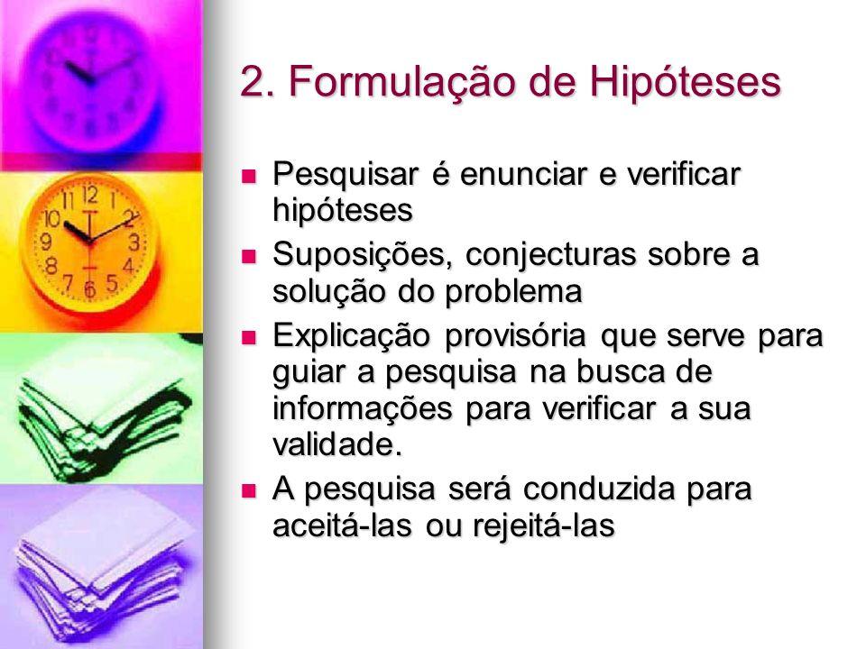 2. Formulação de Hipóteses