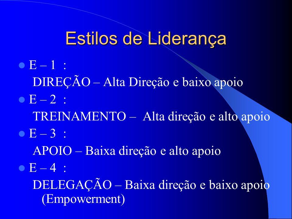 Estilos de Liderança E – 1 : DIREÇÃO – Alta Direção e baixo apoio