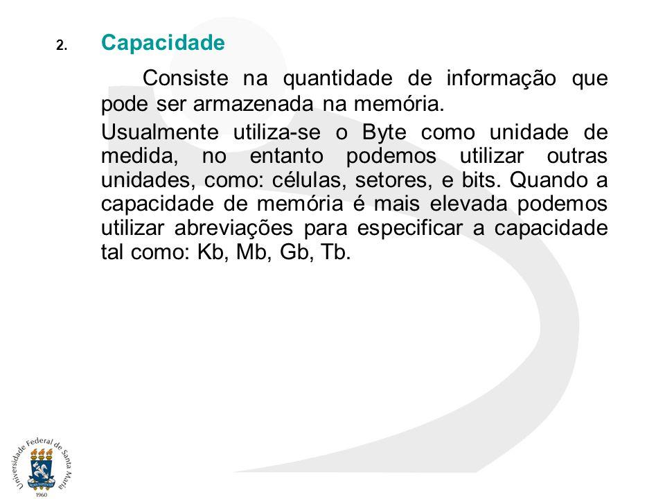 Capacidade Consiste na quantidade de informação que pode ser armazenada na memória.