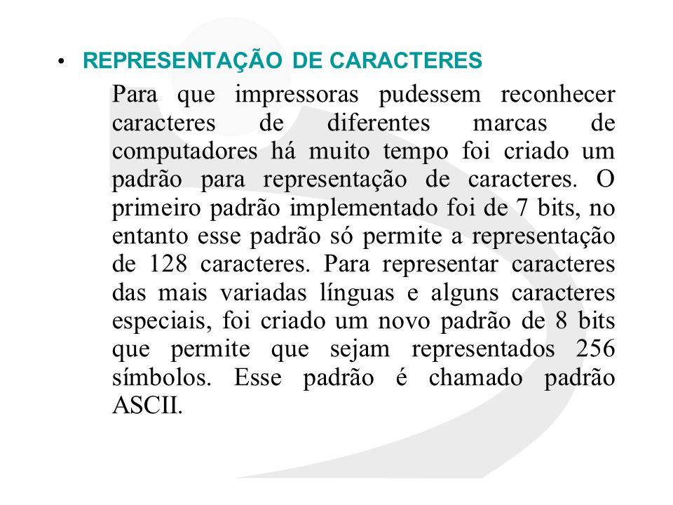 REPRESENTAÇÃO DE CARACTERES