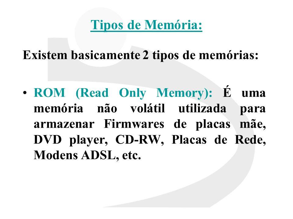 Tipos de Memória: Existem basicamente 2 tipos de memórias: