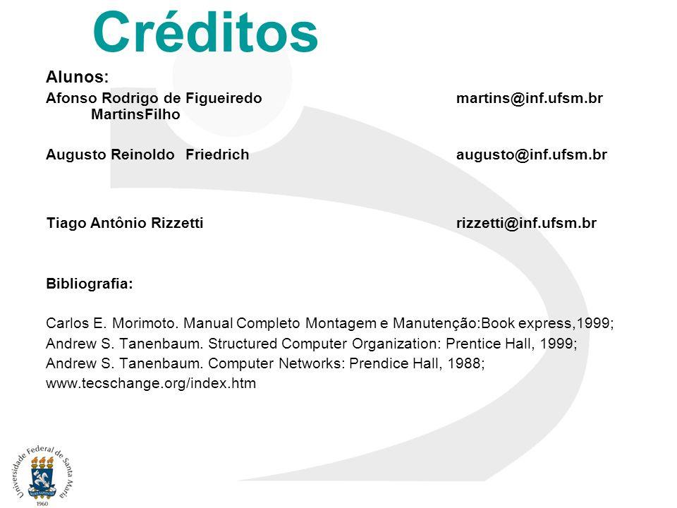 Créditos Alunos: Afonso Rodrigo de Figueiredo martins@inf.ufsm.br MartinsFilho. Augusto Reinoldo Friedrich augusto@inf.ufsm.br.