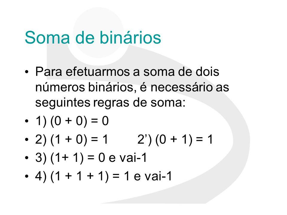Soma de binários Para efetuarmos a soma de dois números binários, é necessário as seguintes regras de soma: