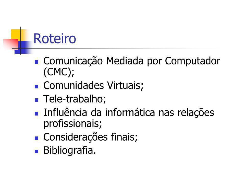 Roteiro Comunicação Mediada por Computador (CMC);