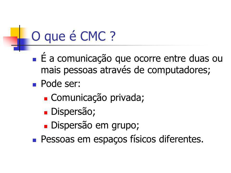 O que é CMC É a comunicação que ocorre entre duas ou mais pessoas através de computadores; Pode ser: