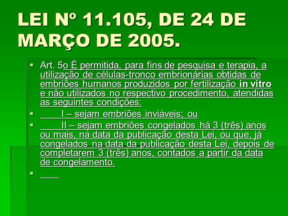 LEI Nº 11.105, DE 24 DE MARÇO DE 2005.