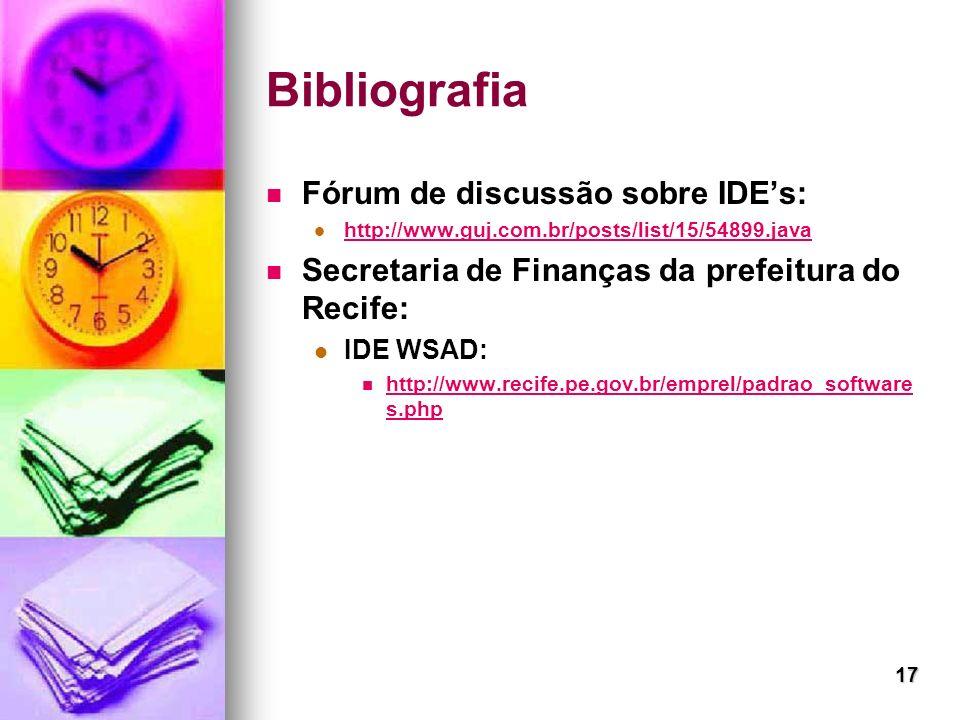 Bibliografia Fórum de discussão sobre IDE's: