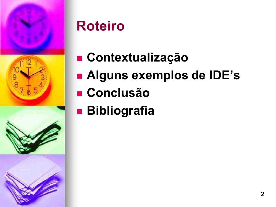 Roteiro Contextualização Alguns exemplos de IDE's Conclusão