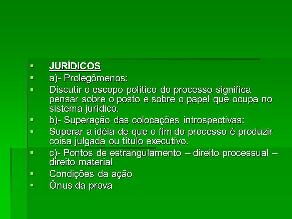 JURÍDICOS a)- Prolegômenos: Discutir o escopo político do processo significa pensar sobre o posto e sobre o papel que ocupa no sistema jurídico.