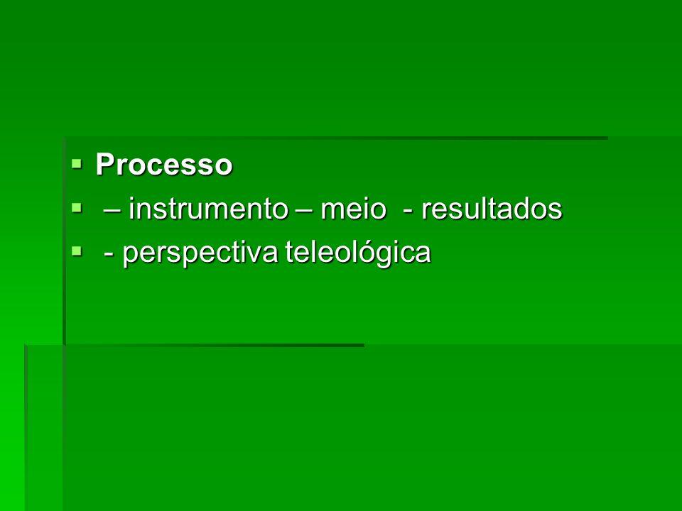 Processo – instrumento – meio - resultados - perspectiva teleológica