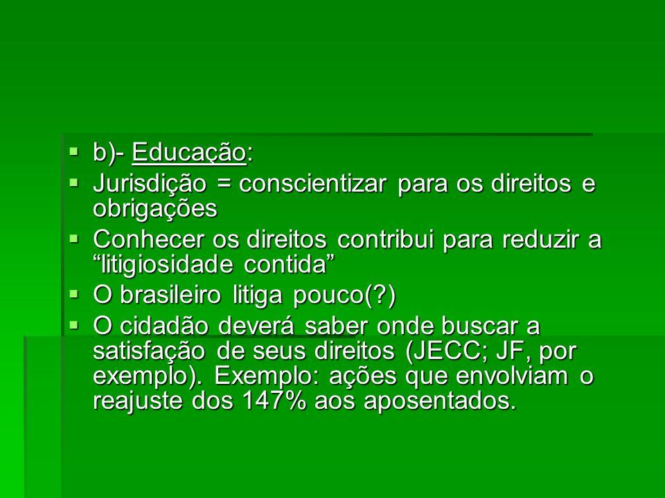 b)- Educação: Jurisdição = conscientizar para os direitos e obrigações. Conhecer os direitos contribui para reduzir a litigiosidade contida