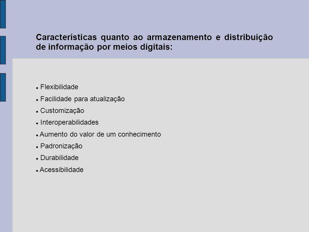 Características quanto ao armazenamento e distribuição de informação por meios digitais: