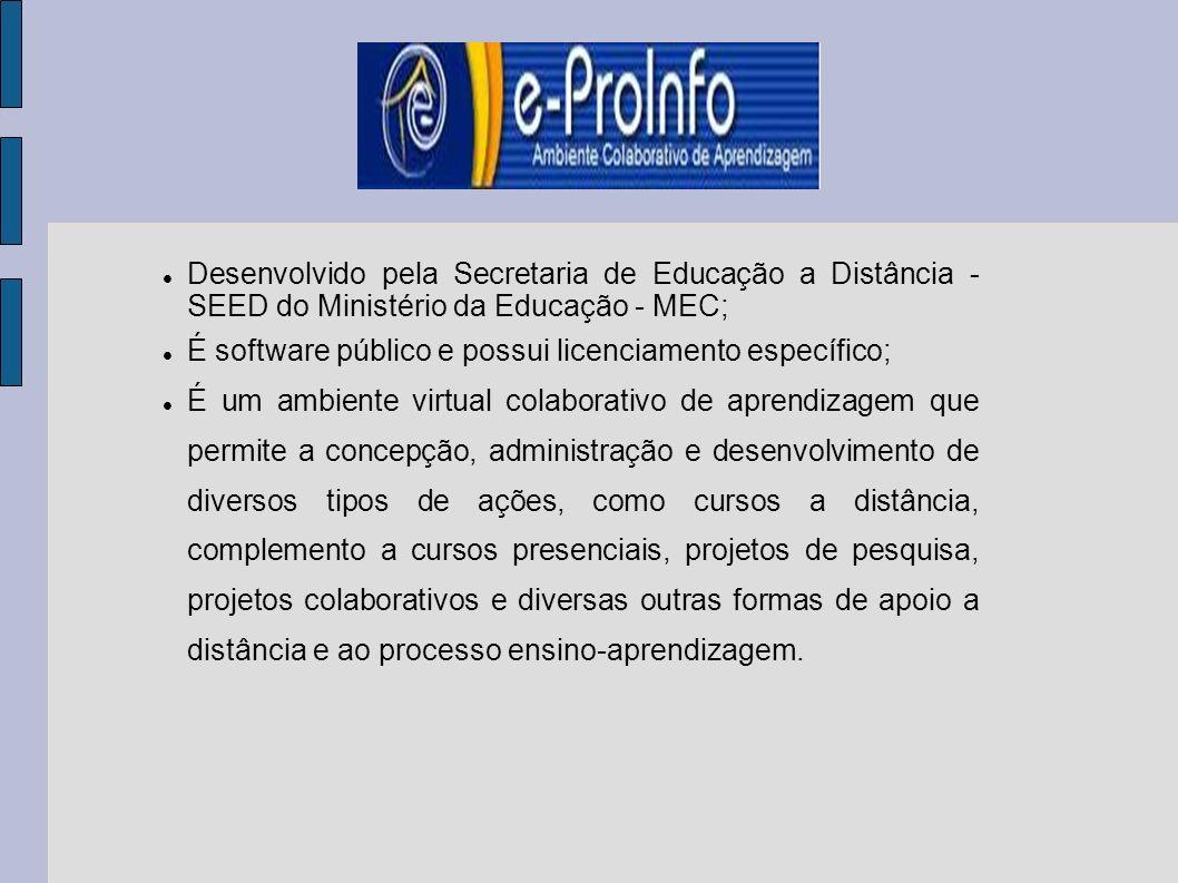 Desenvolvido pela Secretaria de Educação a Distância - SEED do Ministério da Educação - MEC;