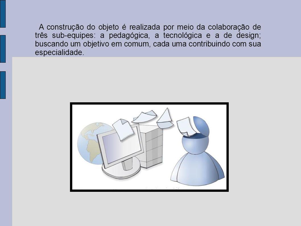 A construção do objeto é realizada por meio da colaboração de três sub-equipes: a pedagógica, a tecnológica e a de design; buscando um objetivo em comum, cada uma contribuindo com sua especialidade.