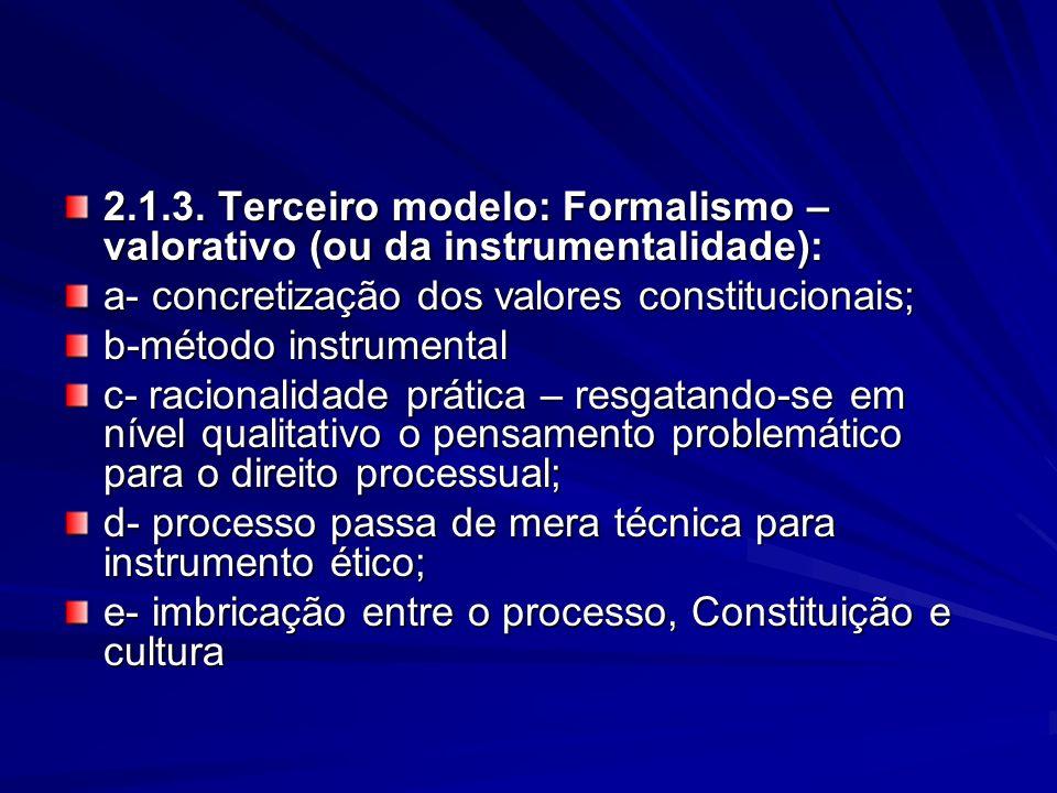 2.1.3. Terceiro modelo: Formalismo –valorativo (ou da instrumentalidade):
