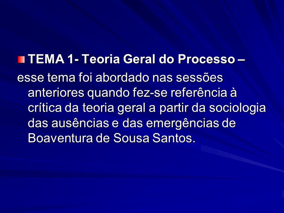 TEMA 1- Teoria Geral do Processo –