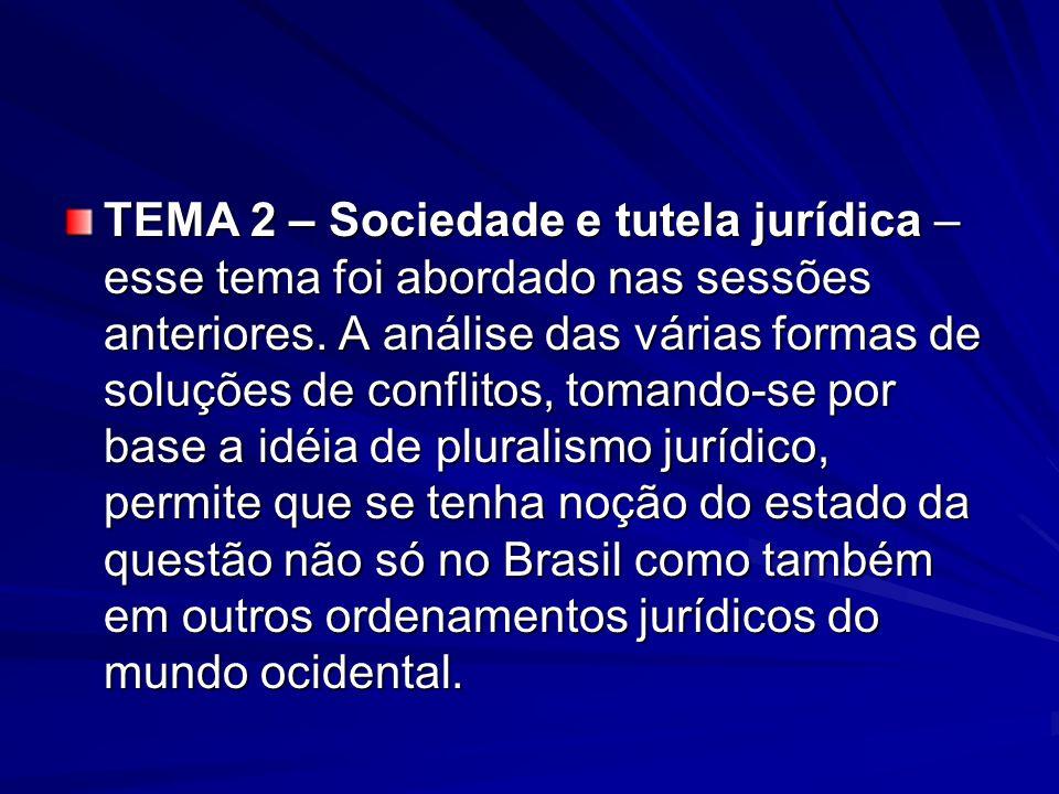 TEMA 2 – Sociedade e tutela jurídica – esse tema foi abordado nas sessões anteriores.