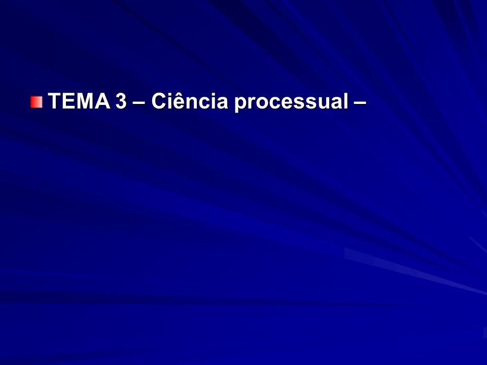 TEMA 3 – Ciência processual –