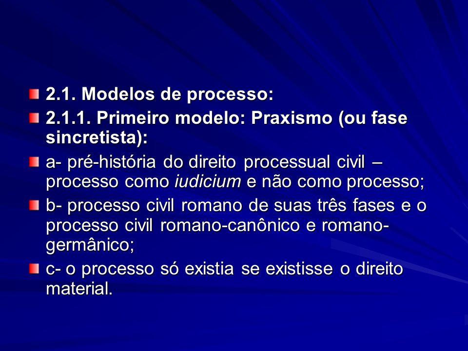 2.1. Modelos de processo: 2.1.1. Primeiro modelo: Praxismo (ou fase sincretista):