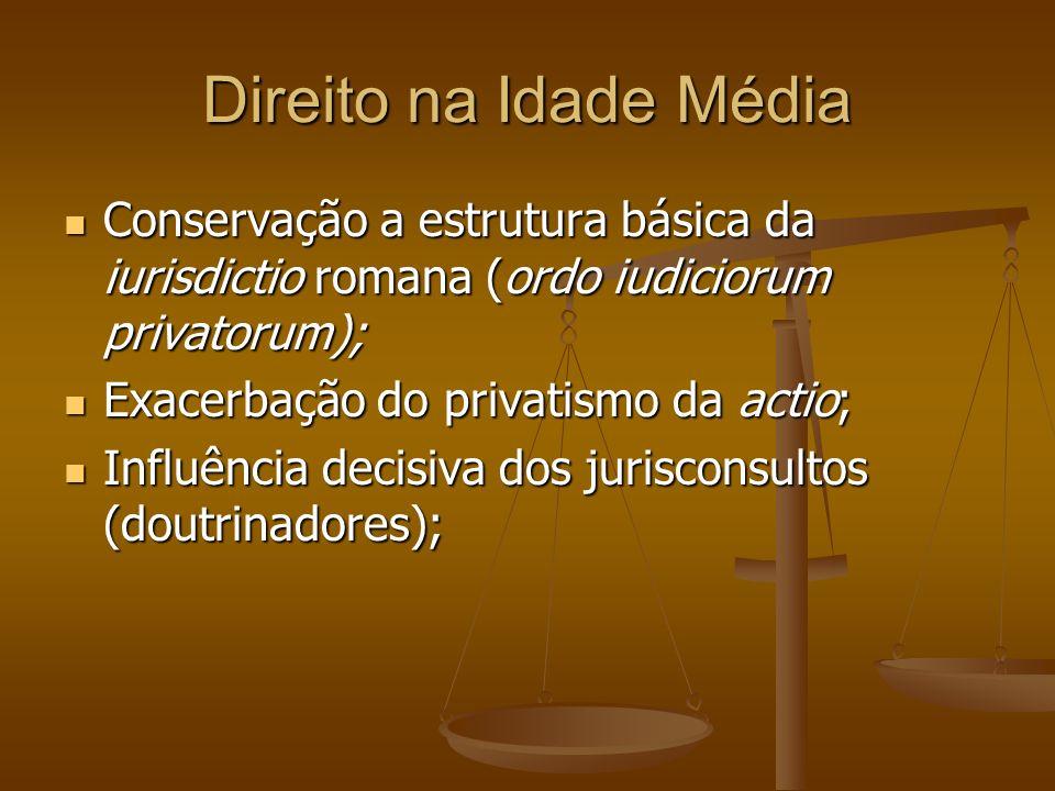 Direito na Idade Média Conservação a estrutura básica da iurisdictio romana (ordo iudiciorum privatorum);