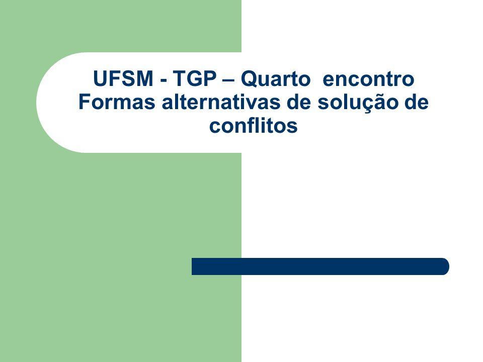 UFSM - TGP – Quarto encontro Formas alternativas de solução de conflitos