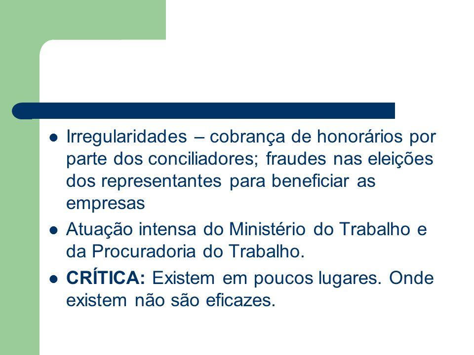 Irregularidades – cobrança de honorários por parte dos conciliadores; fraudes nas eleições dos representantes para beneficiar as empresas