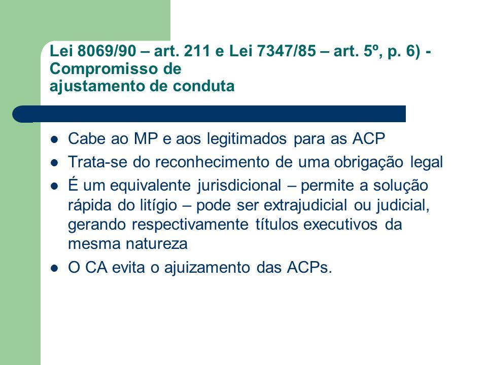 Lei 8069/90 – art. 211 e Lei 7347/85 – art. 5º, p. 6) - Compromisso de ajustamento de conduta