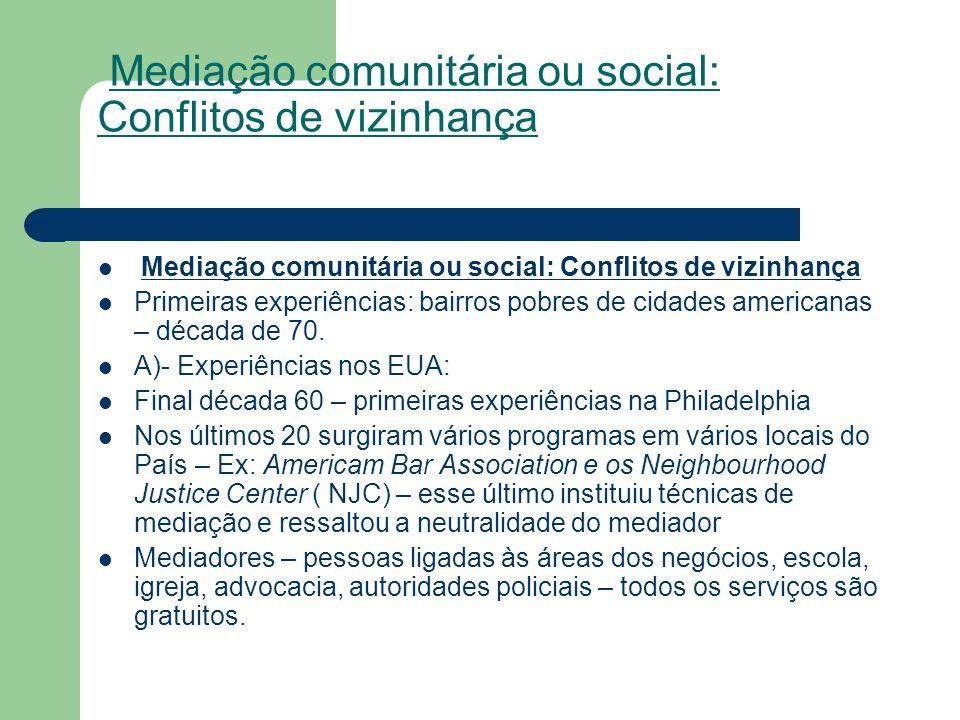 Mediação comunitária ou social: Conflitos de vizinhança