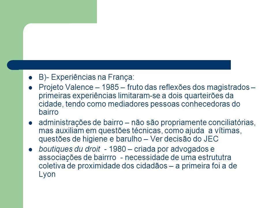 B)- Experiências na França: