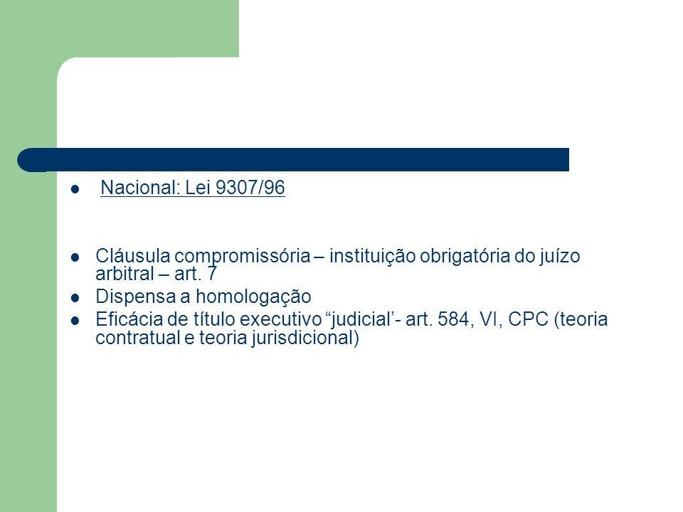 Nacional: Lei 9307/96Cláusula compromissória – instituição obrigatória do juízo arbitral – art. 7. Dispensa a homologação.