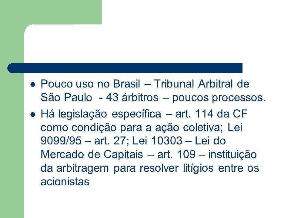 Pouco uso no Brasil – Tribunal Arbitral de São Paulo - 43 árbitros – poucos processos.