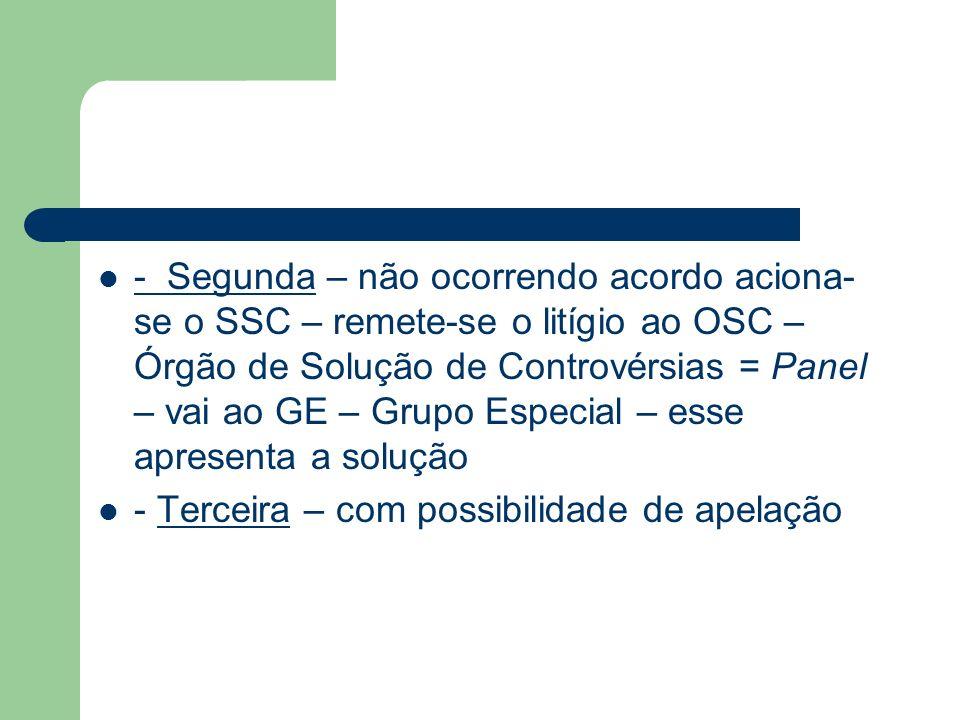 - Segunda – não ocorrendo acordo aciona-se o SSC – remete-se o litígio ao OSC – Órgão de Solução de Controvérsias = Panel – vai ao GE – Grupo Especial – esse apresenta a solução