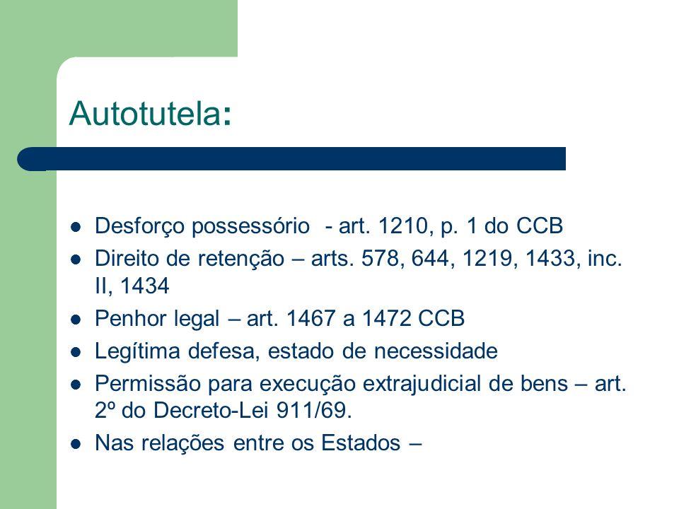 Autotutela: Desforço possessório - art. 1210, p. 1 do CCB