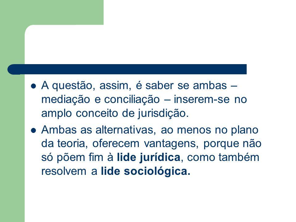 A questão, assim, é saber se ambas – mediação e conciliação – inserem-se no amplo conceito de jurisdição.