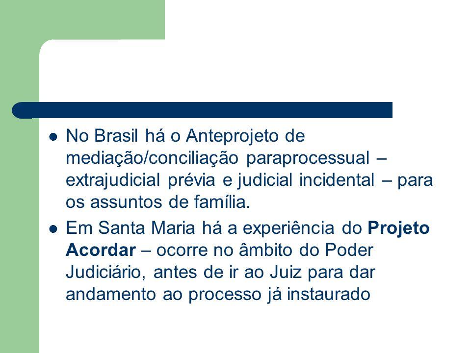 No Brasil há o Anteprojeto de mediação/conciliação paraprocessual – extrajudicial prévia e judicial incidental – para os assuntos de família.